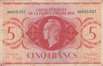 Afrique Equatoriale Française 5 Francs 1944 - France libre, croix de Lorraine - N° de série bleu