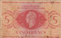 Afrique Equatoriale Française 5 Francs Marianne 1944 - Sans numéro de série