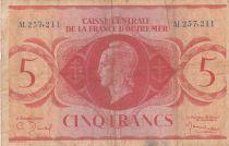 Afrique Equatoriale Française 5 Francs Marianne 1944 - Série AL 257.211