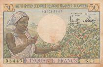 Afrique Equatoriale Française 50 Francs jeune femme, café ND1957 - Série S.12