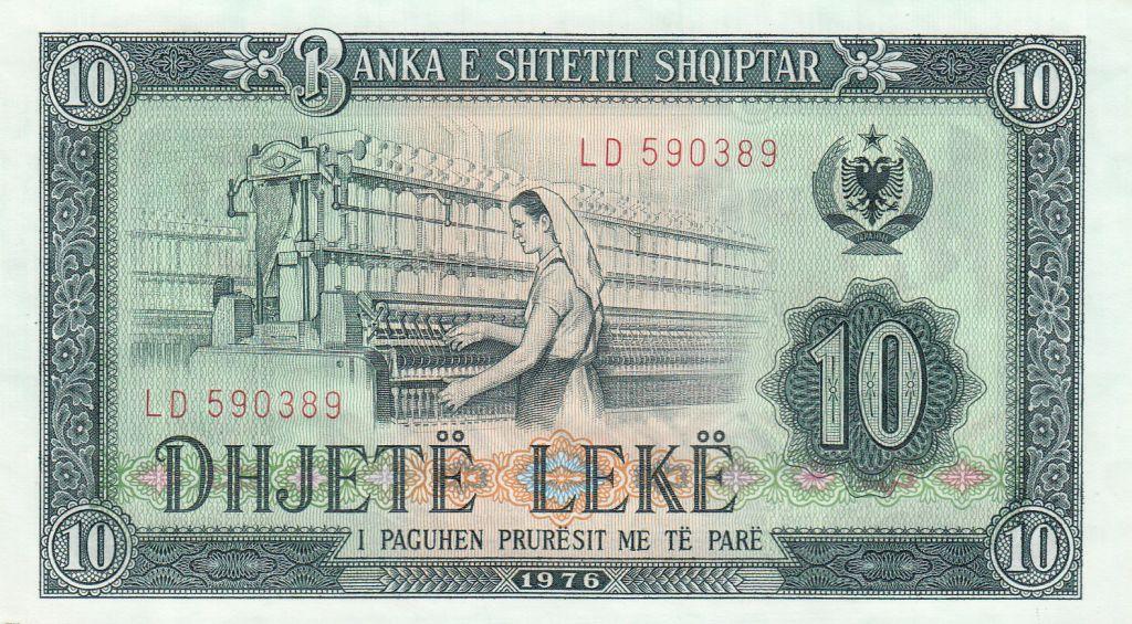Albania 10 Leké 1976 - Cotton spinning frame