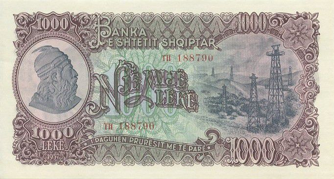 Banknote Albania 1000 Leké 1957 - Oil well derricks - Miner
