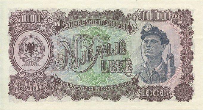 Albania 1000 Leké Oil well derricks - Miner