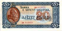 Albania 20 Leké Skanderbeg - Eagle - 1948