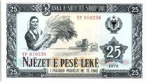 Albania 25 Leké - Peasant Woman and Tractor - 1976