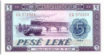 Albania 5 Leké  - Truck, viaduct -1964