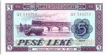 Albania 5 Leké  - Truck, viaduct -1976