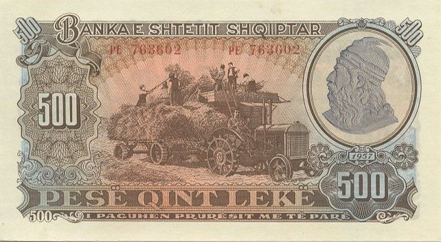 Albania 500 Leké Harvest scene