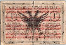 Albanie 1 Franc Noir et brun orange  - 1917
