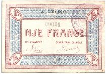 Albanie 1 Franc Rouge et Bleu, Village - 1918