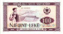 Albanie 100 Leké - Ouvrier, enfant et barrage- 1964