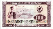 Albanie 100 Leké - Ouvrier, enfant et barrage- 1976 Grand Numéro