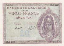 Algeria 20 Francs  1945 - AUNC - P.92a - Serial M.1438
