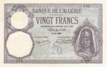 Algeria 20 Francs Young womand - 1928 - Serial H.2815 - aUNC - P.78b