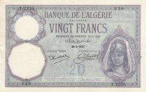 Algeria 20 Francs Young womand - 26-02-1927 - Serial T.2325