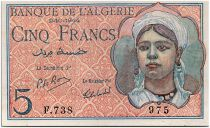 Algeria 5 Francs 02-10-1944 -  young lady - Serial F.738