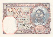 Algeria 5 Francs Girl with kerchief - 1933 - P.77a -aUNC