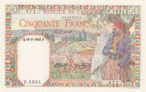 Algeria 50 Francs - 18-09-1942 - Serial P.1334 - P.87 - aUNC