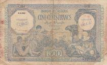 Algeria 500 Francs Arab w/camel - Oasis - 06-08-1943 Serial O.121 - Fine