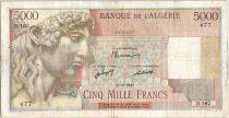 Algeria 5000 Francs  Apollo - Triomphal arch of Trajan- D.160 - 1947 2eme ex