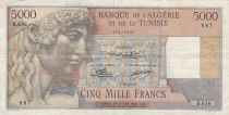 Algeria 5000 Francs Apollo - Triomphal arch of Trajan - 07-09-1950 -  Serial B.626