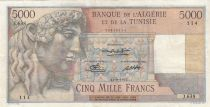 Algeria 5000 Francs Apollo - Triomphal arch of Trajan - 11-09-1950 -  Serial J.638