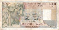 Algeria 5000 Francs Apollo - Triomphal arch of Trajan - 1955