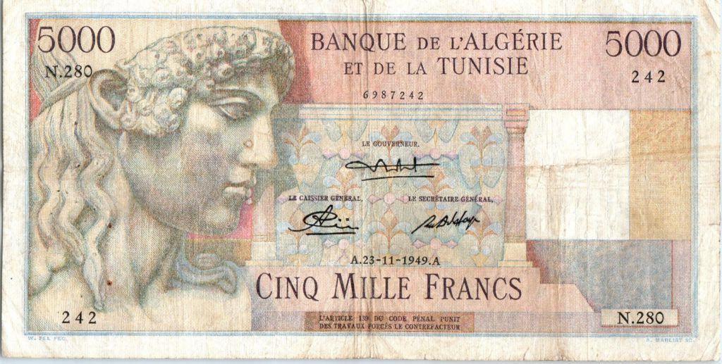 Algeria 5000 Francs Apollo - Triomphal arch of Trajan - N.280  - 1949