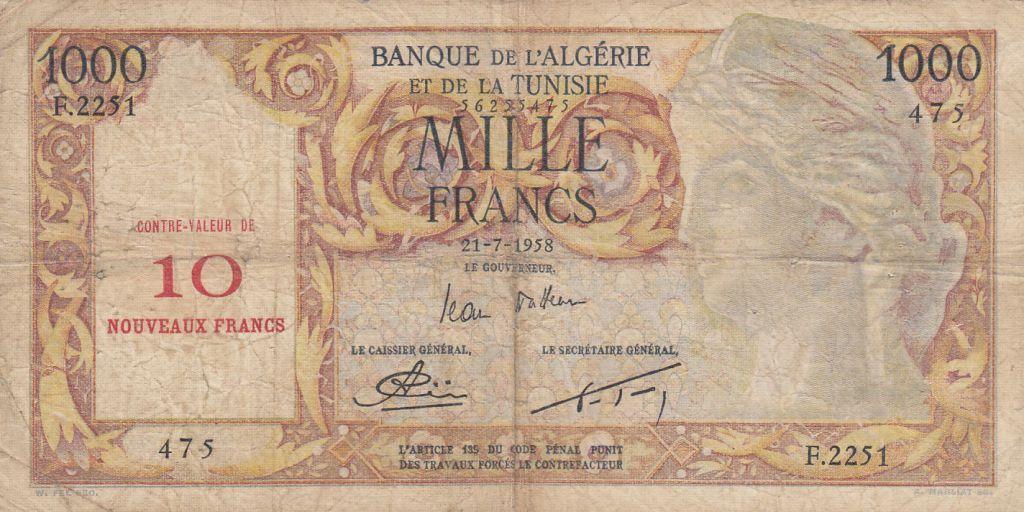 Algérie 10 NF / 1000 Francs - Isis - 21-07-1958 - Série F.2251