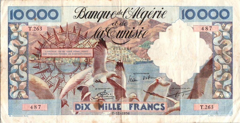 Algérie 10000 francs  Mouettes, port - 07-11-1956 - TTB