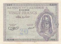 Algérie 20 Francs Jeune Femme - 09-12-1943 - SPL - P.92a - Série E.416