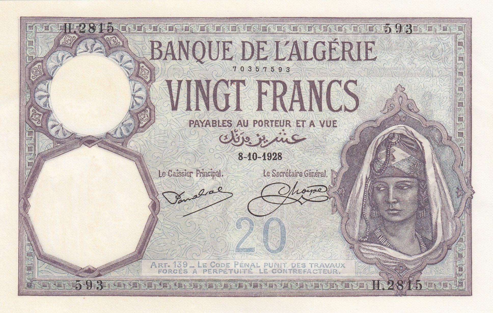 Algérie 20 Francs Jeune Femme - 1928 - P.78b - P.Neuf - Série H.2815