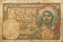 Algérie 5 Francs - Fille au foulard 16-01-1941 -  Série M.4871 - TB