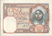 Algérie 5 Francs  Fillette - 1939