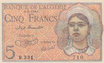 Algérie 5 Francs 08-02-1944 -  jeune femme - Série B.331