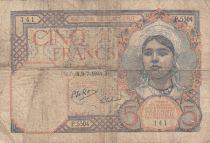 Algérie 5 Francs 1941 - Femme, vue du port d\'Alger, barques