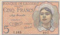 Algérie 5 Francs Jeune Femme - 08-02-1944 Série J.165