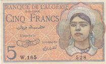 Algérie 5 Francs Jeune Femme - 08-02-1944 Série W.165