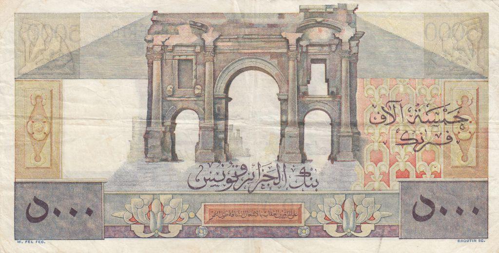 Algérie 5000 Francs Apollon - Arc de Triomphe de Trajan - 02-01-1951 -  Série W.714