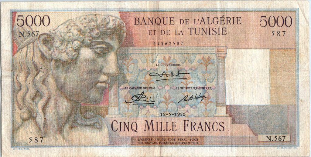 Algérie 5000 Francs Apollon - Arc de Triomphe de Trajan - N.567 - 1950
