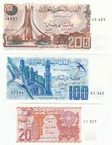 Algérie Série de 3 billets 1981 à 1983