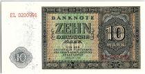 Allemagne (RDA) 10 Mark Bleu et Vert - 1948