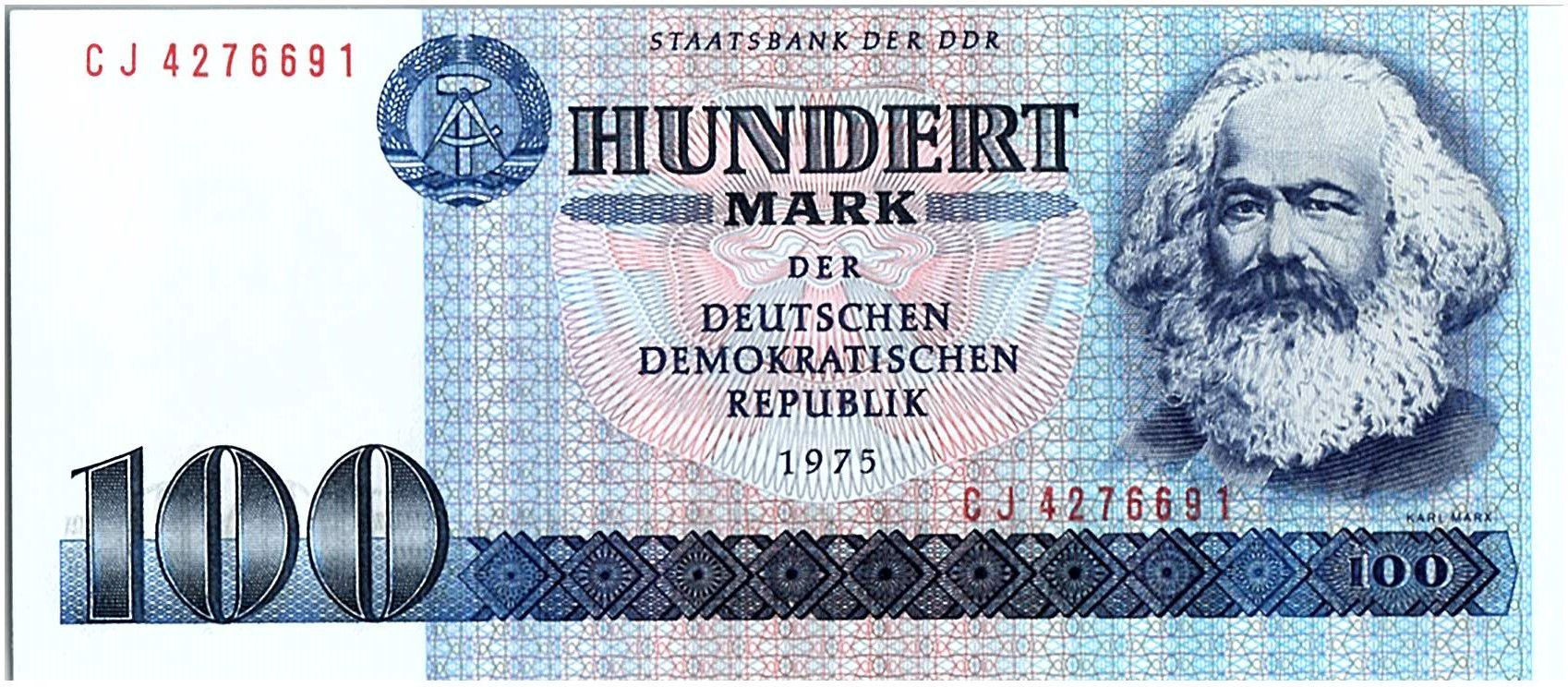 Allemagne (RDA) 100 Mark Karl Marx - 1975