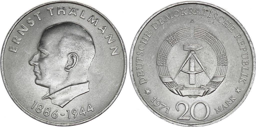 Allemagne (RDA) 20 Mark - Ernst Thalmann - 1971 -  TTB à SUP