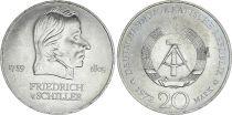 Allemagne (RDA) 20 Mark - Friedrich Von Schiller - 1972 -  TTB à SUP