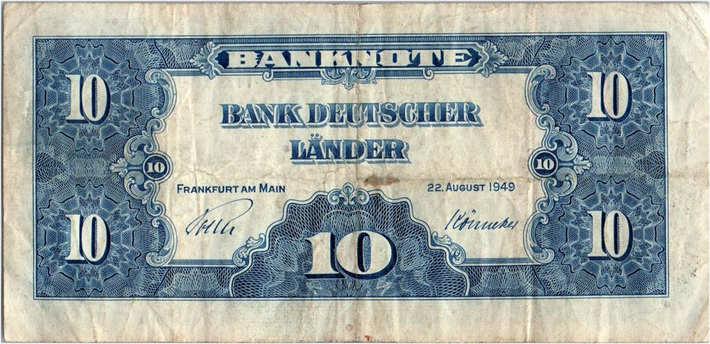 Allemagne (République Fédérale) 10 Deutsche Mark - Justice, travail - 1949 - N23311701B