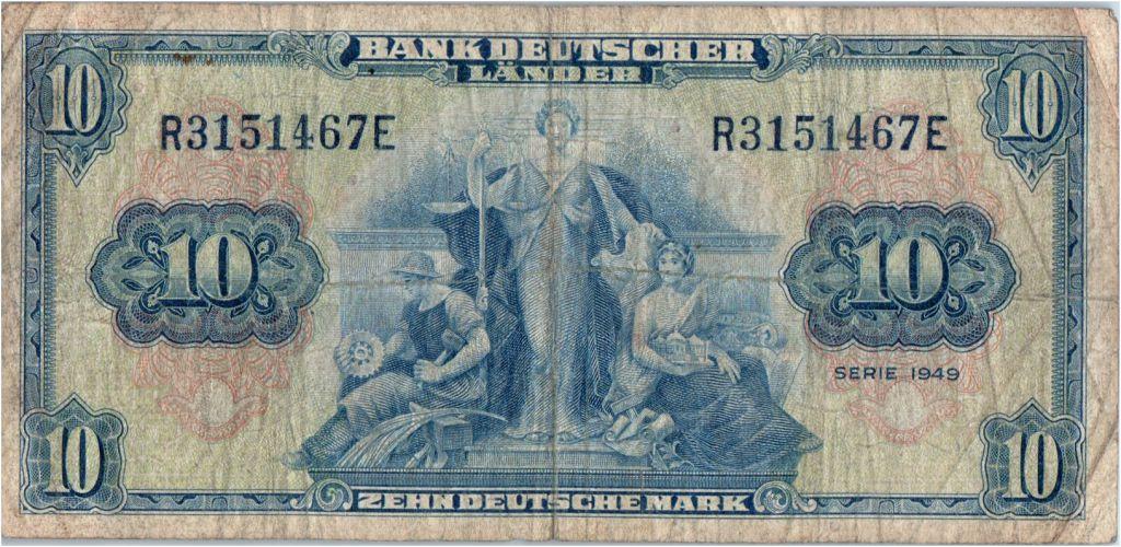 Allemagne (République Fédérale) 10 Deutsche Mark - Justice, travail - 1949 - R3151467E