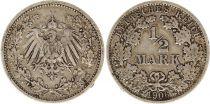 Allemagne 1/2 Mark 1906F - Aigle couronné, argent
