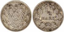 Allemagne 1/2 Mark 1906G - Aigle couronné, argent