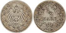 Allemagne 1/2 Mark 1908A - Aigle couronné, argent